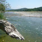 Vue sur la rivière Aygues, Eygues, Aigues