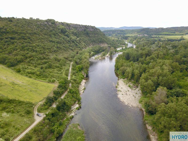 Photo de la plaine alluviale de l'Ardèche