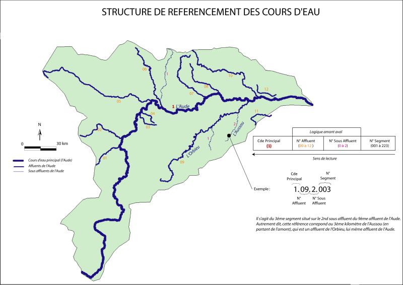 Carte du bassin versant de l'Aude
