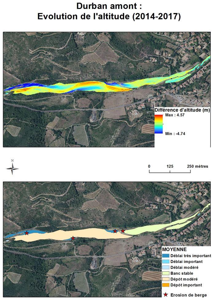carte de l'évolution de l'altitude de la Berre sur la commune de Durban, dans l'Aude, entre 2014 et 2017