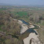 Vue par drone de la Cèze au droit du site de travaux