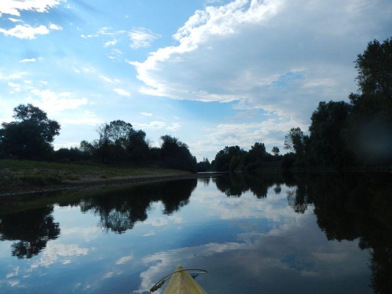 Photo de la rivière prise depuis notre canoë pendant notre campagne de terrain d'expertise hydromorphologique