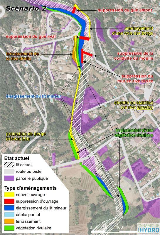 cartographie de la Florièye dans sa traversée de Tarabeau