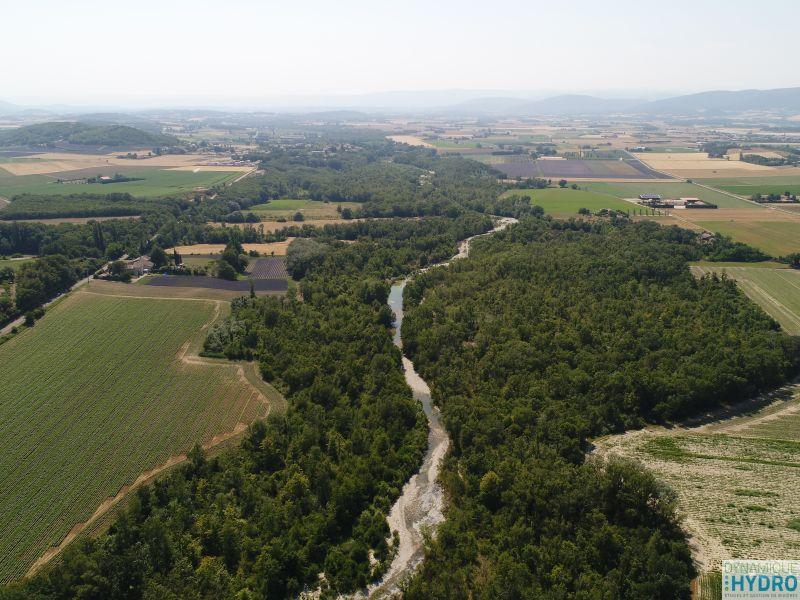 Roubion - Vue par drone pour la restauration écomorphologique