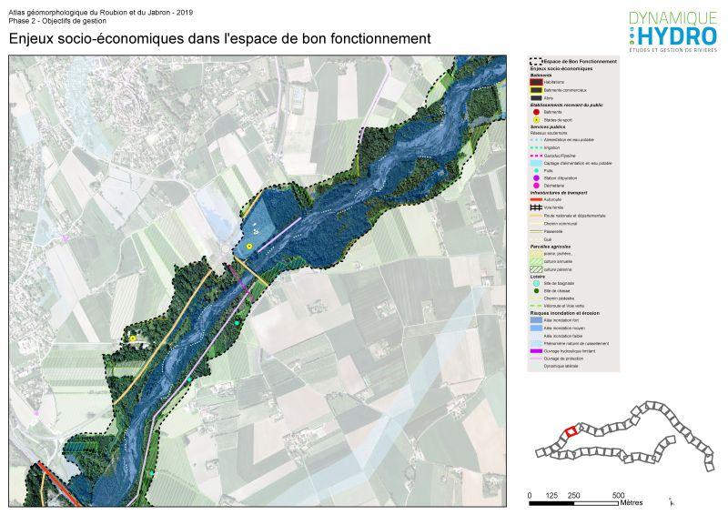 Cartographie des enjeux socio-économiques dans l'espace de bon fonctionnement du Roubion et du Jabron dans la Drôme