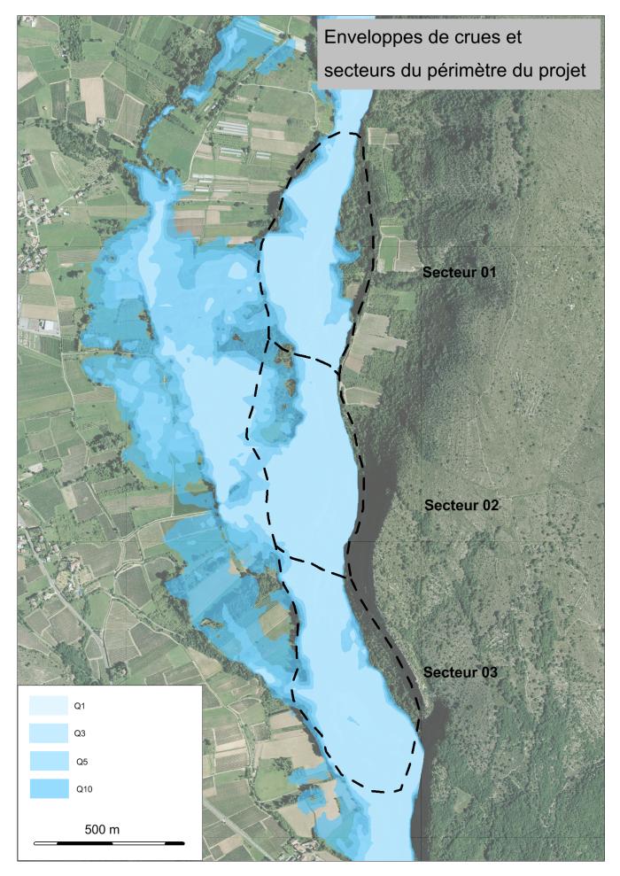 Cartographie des enveloppes de crues et secteurs du périmètre du projet de restauration hydromorphologique de l'Ardèche