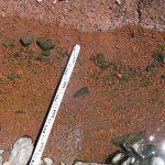 ARDECHE - Plan de gestion physique : vue sur une mire qui permet de caler une échelle pour évaluer la taille des sédiments à posteriori