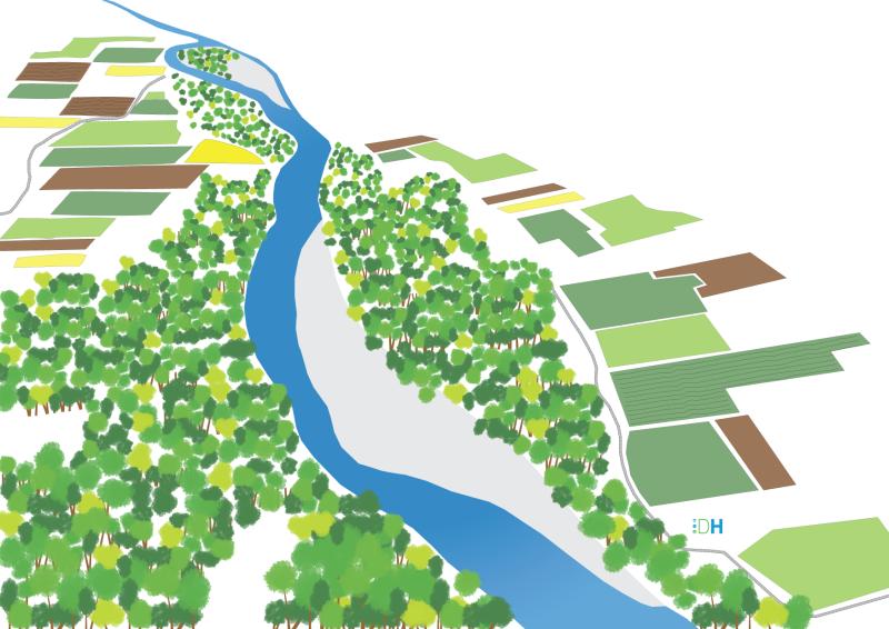 Illustration 3D de l'état actuel de l'Ardèche au droit de Voguë