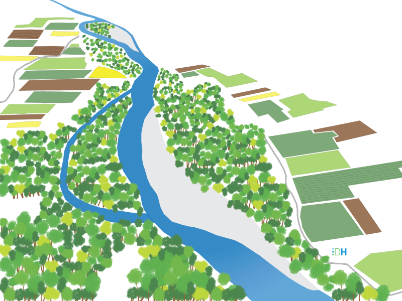 Illustration 3D d'un projet de restauration pour l'Ardèche au droit de Voguë