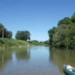 Vue sur l'Aude et le canoë 2 places