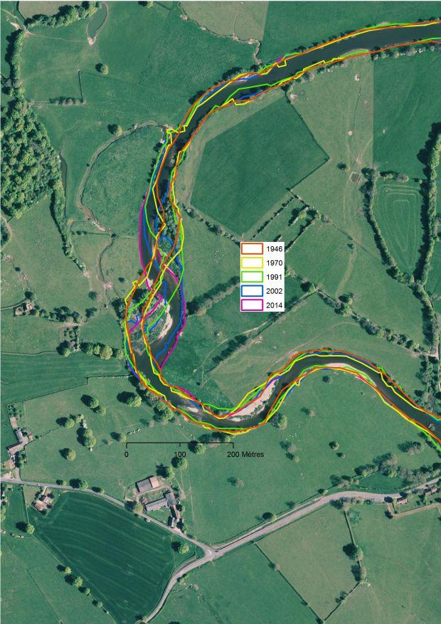 Cartographie diachronique des bandes actives d'une portion de la rivière Arroux - réalisé sous logiciel SIG du type ArcGIS ou QGIS