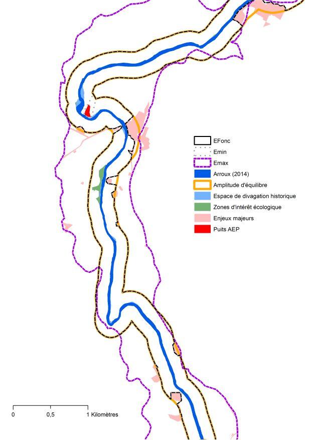 Cartographie récapitulative de la rivière Arroux : Espace de bon fonctionnement, zones d'intérêt écologique, espace de divagation historique, enjeux majeurs, puits AEP, emprise foncière, etc.