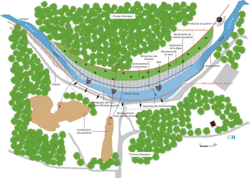 Restauration : schéma de la vue en plan du projet (stade esquisse)
