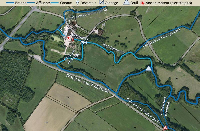 Plan général et schéma du fonctionnement de l'ensemble hydraulique du moulin de Tramelans sur la Brenne