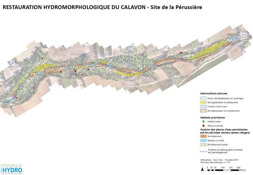 Plan / cartographie de la rivière Calavon, dans le Vaucluse dans le cadre de l'étude de restauration écologique