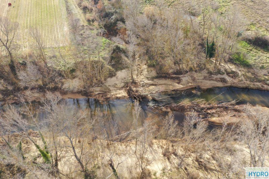 Vue par drone du Calavon dans le but de réaliser une orthophoto