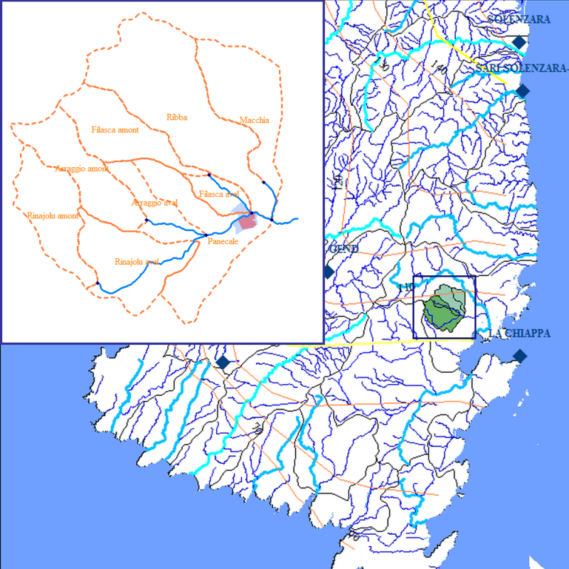 Carte de l'hydrologie du bassin versant
