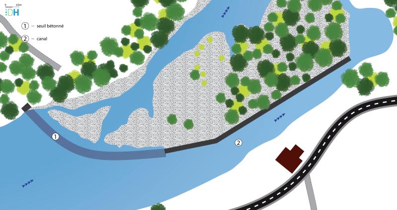 Schéma de la vue en plan (niveau esquisse) du seuil de Ganivay sur le Chassezac en Ardèche