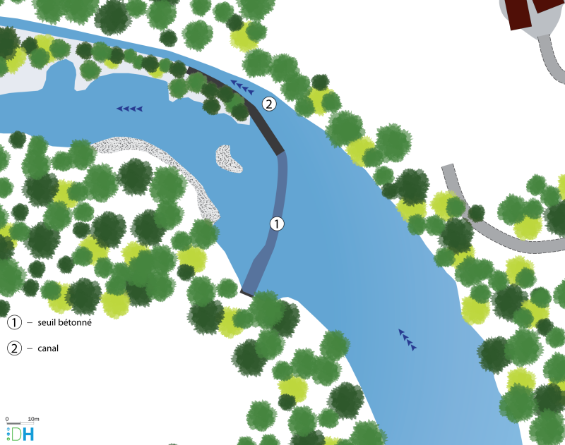 Schéma de la vue en plan (niveau esquisse) du seuil de Vompdes sur le Chassezac en Ardèche