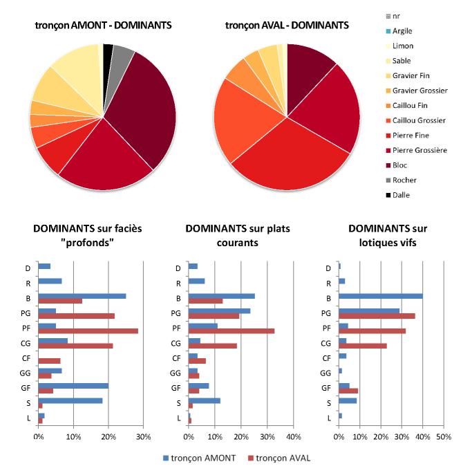 Graphques analytiques des relevés de terrains : comparaisons granulométriques, granulométrie dominante (D, R, B, PG, PF, CG, CF, GG, GF, S)