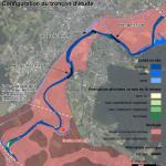 DOUBS - Cartographie des la configuration du tronçon étudié pour le suivi expérimental de la charge grossière du barrage de Crissey sur le Doubs