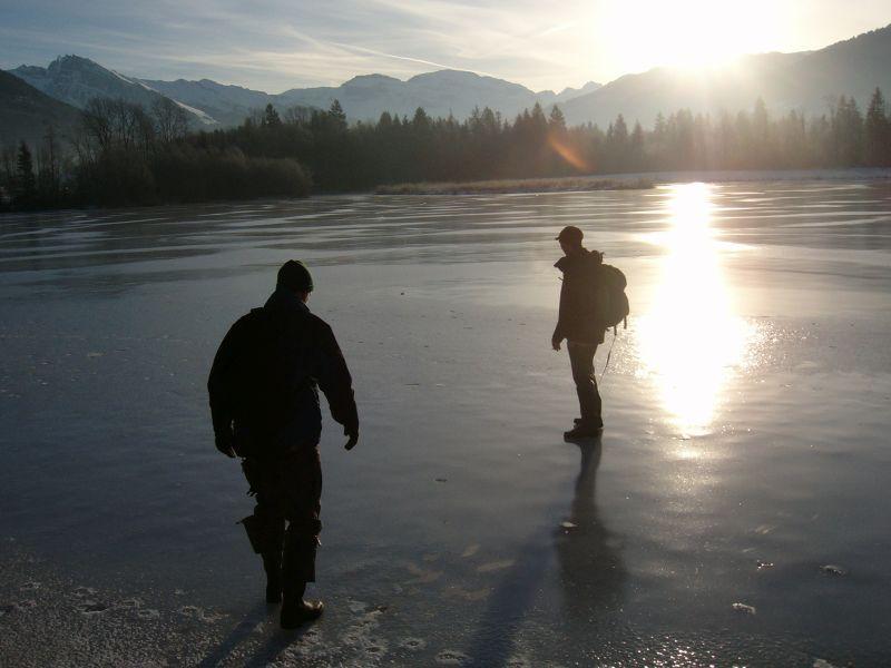 Faire du terrain sur un lac gelé...
