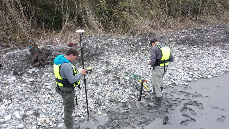 Vue réalisée depuis notre drone de l'équipe Dynamique Hydro lors de notre campagne de terrain pour le Suivi morphologique des bancs