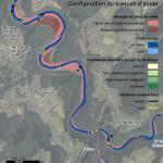 LOUE - Cartographie de la configuration du tronçon étudié pour le suivi expérimental de la charge grossière du barrage de Châtillon sur la Loue