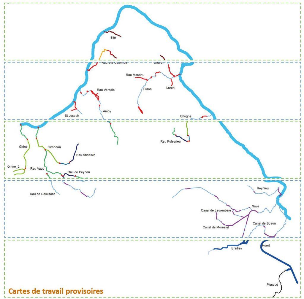 Ecomorphologie : cartographies provisoires des cours d'eau étudiée élaborées sur un logiciel SIG (ArcGis, QGIS) par Dynamique Hydro