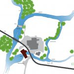 Schéma vue en plan général du moulin de Corcelles, son seuil et ses environs sur la Reyssouze (phase esquisse)