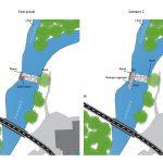 Schéma de la vue en plan du seuil du moulin de Corcelles sur la Reyssouze. 2 scénarios en phase esquisse.