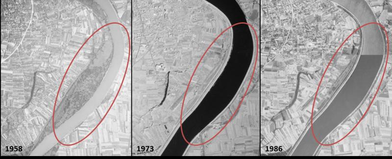 Comparaison diachronique de photos aériennes pour l'analyse géomorphologique de l'évolution bathymétrique du Rhône pour la Compagnie Nationale du Rhône CNR